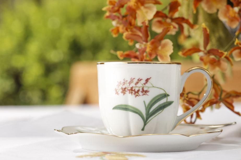 xícara de café de orquídeas