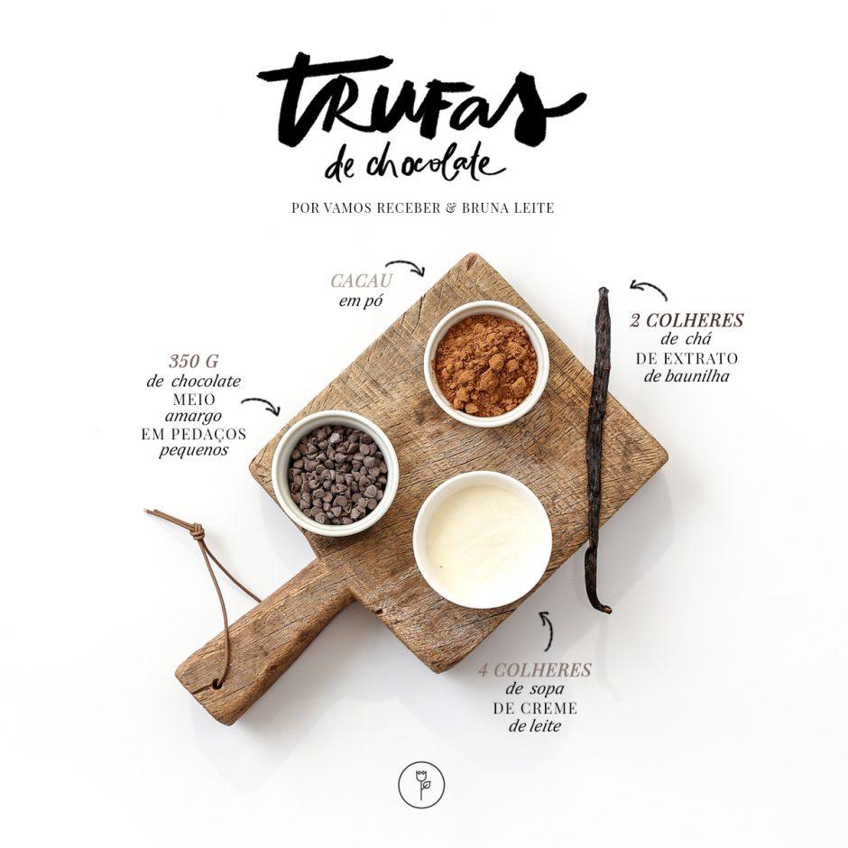 Ingredientes da Receita para Trufas de Chocolate por Bruna Leite para o Vamos Receber