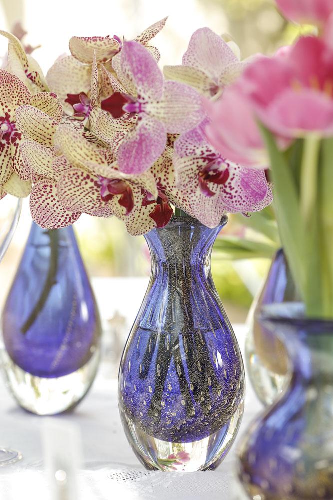 vasos azuis de cristal da Cristais Cá D'oro