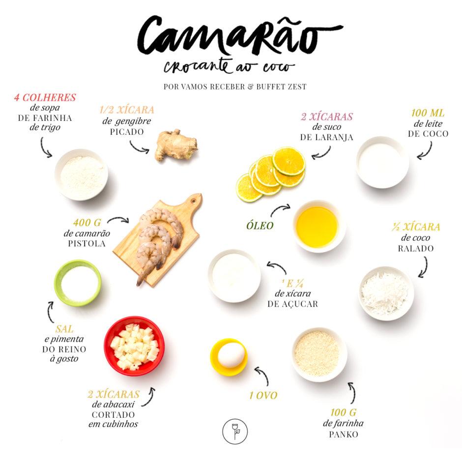ingredientes da receita de camarao crocante ao coco