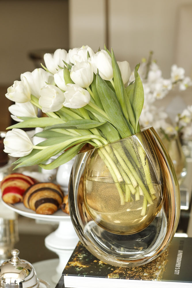 vasos e flores cristais cá d'oro
