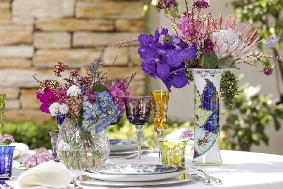 vasos de cristal transparentes para arranjos florais