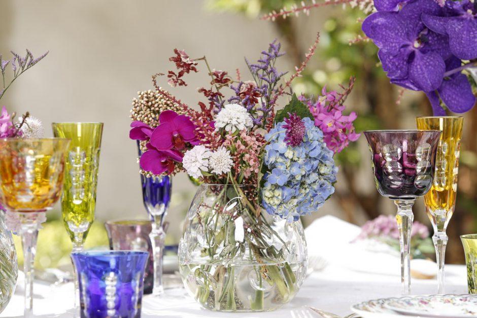 vasos de cristal transparentes para arranjos de flores