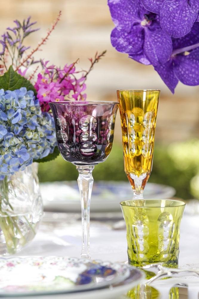 copo e tacas em cristal lapidado da Christofle