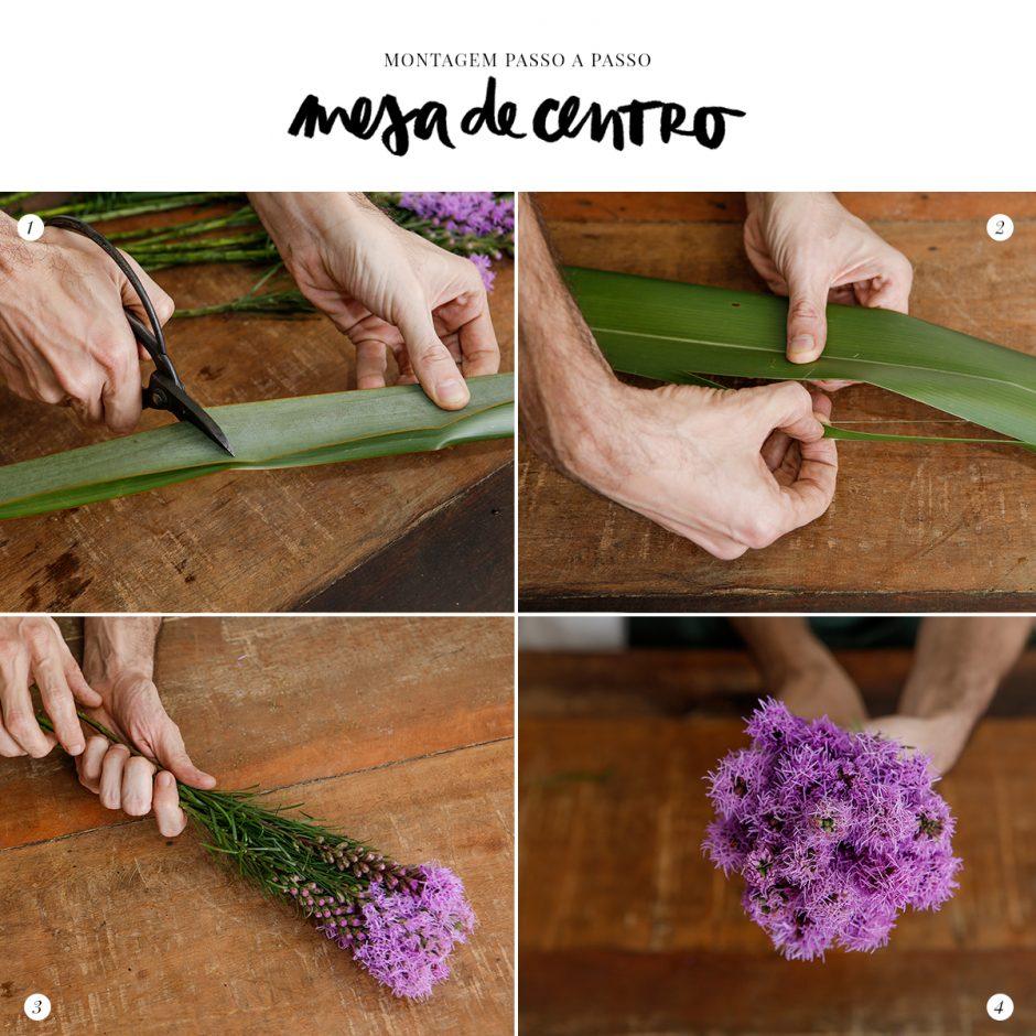 montagem de arranjo de flores