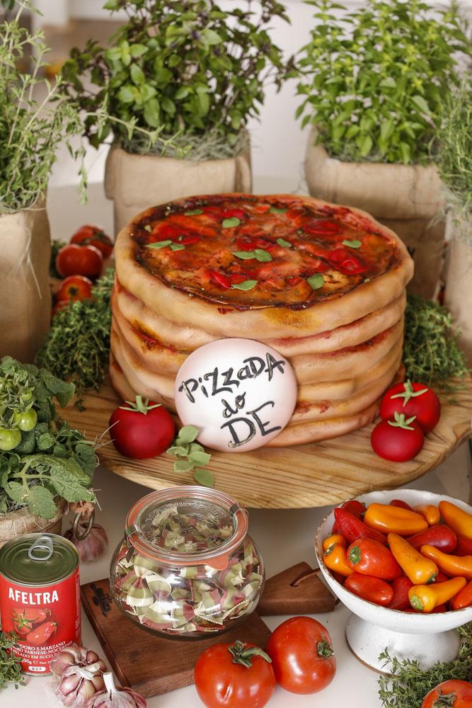 decoracao com tema pizza
