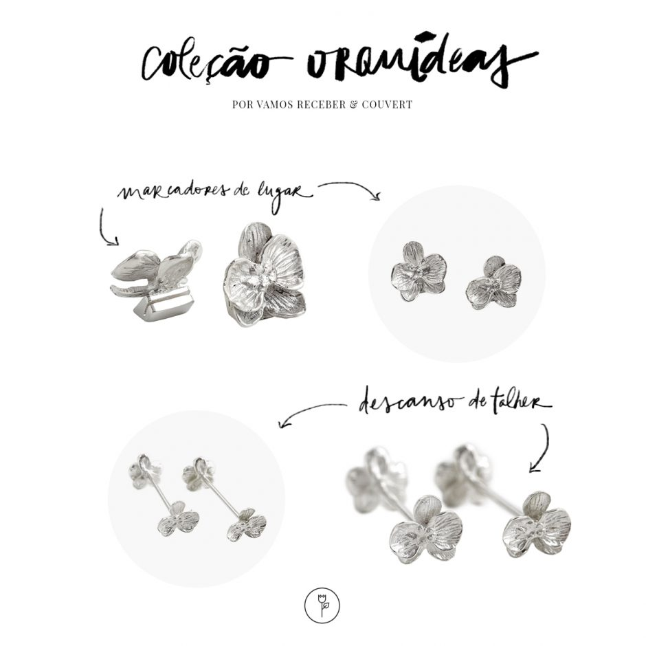 marcadores de lugar e descansos de talher couvert colecao orquideas