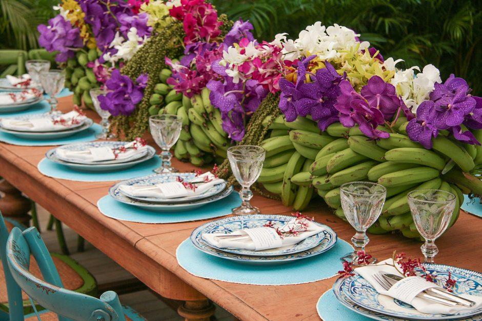 centro de mesa de bananeira