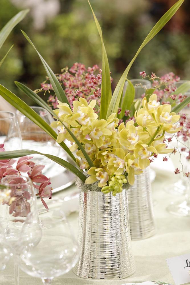 microrquídeas e orquídeas cymbidium nos tons de amarelo e fúcsia