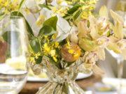arranjo floral em murano transparente