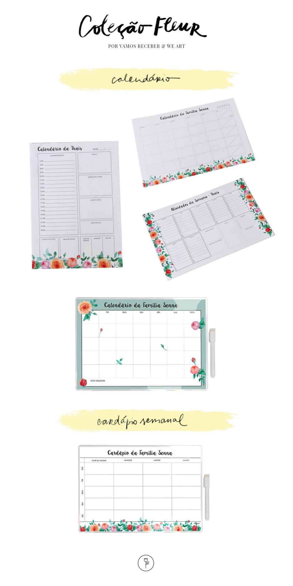 calendário menu papelaria personalizada vamos receber e we art