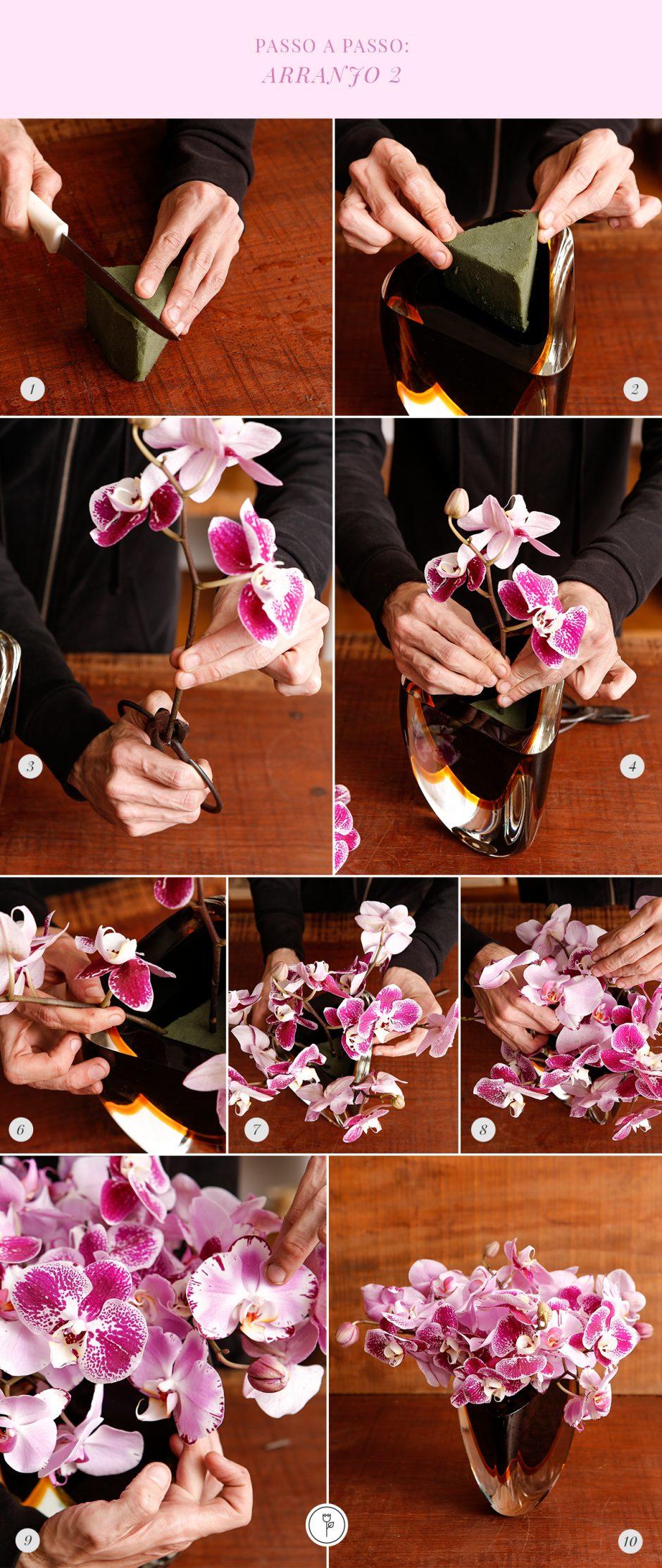 diy arranjo de orquídeas phalaenopsis