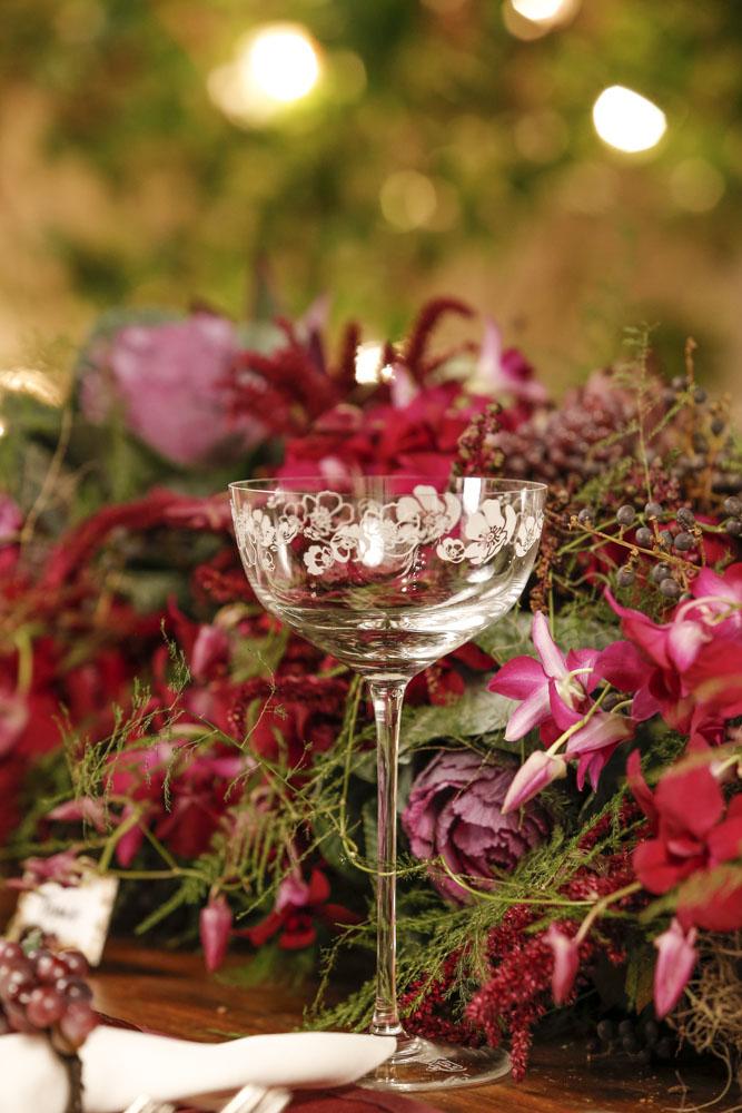 taças de champagne com desenhos de anêmonas da Perrier- Jouet