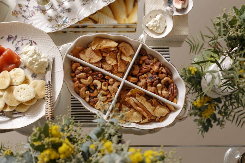 nuts e chips de batata doce por Bruna Leite