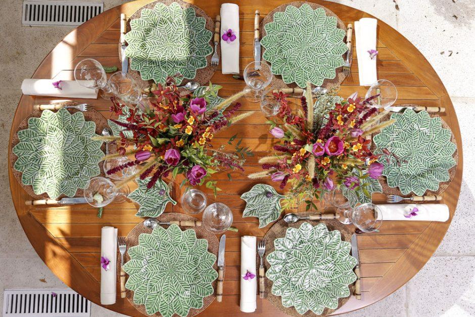 decor de mesa no jardim