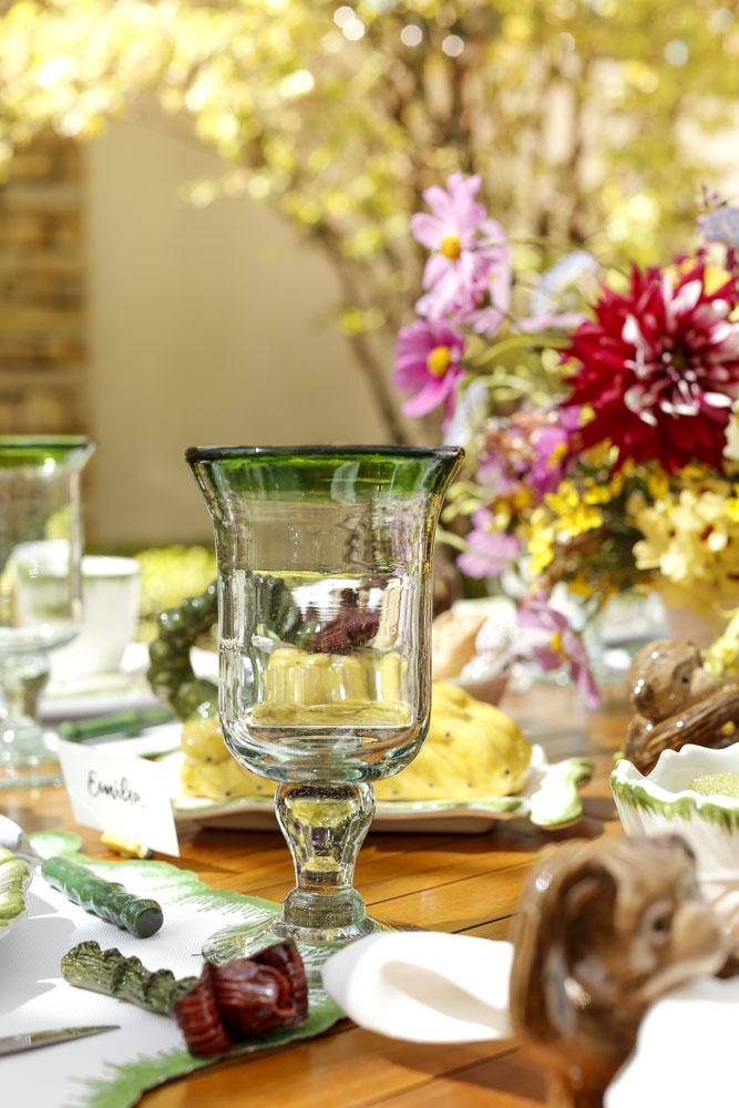 coos de vidro com detalhe verde