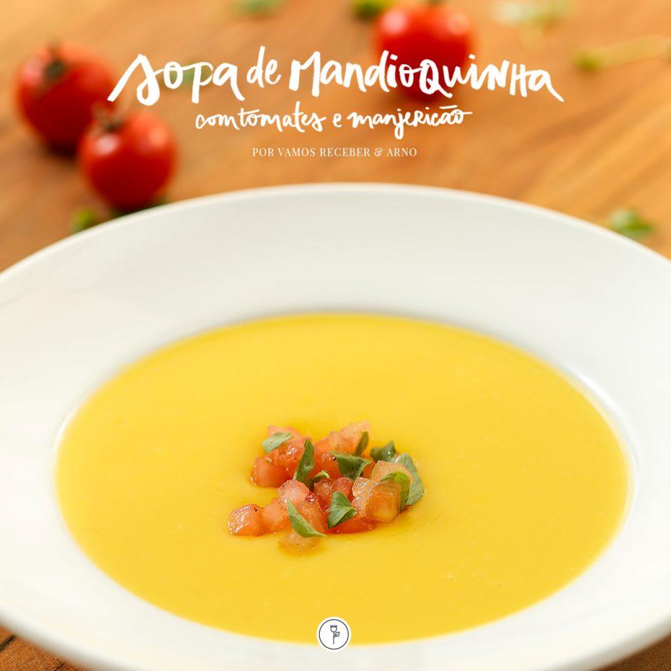 receita de sopa de mandioquinha com tomates e manjericão