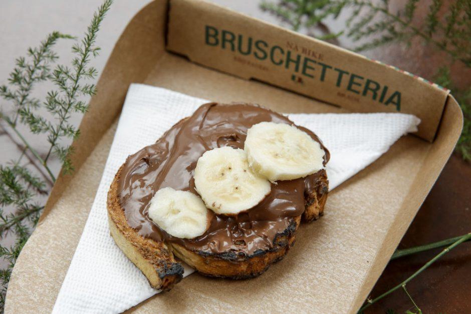 bruschetta doce de banana com nutella da Na Bike bruschetteria
