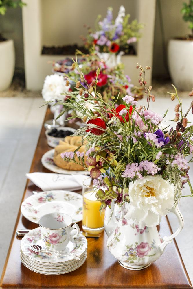 chá da tarde florido