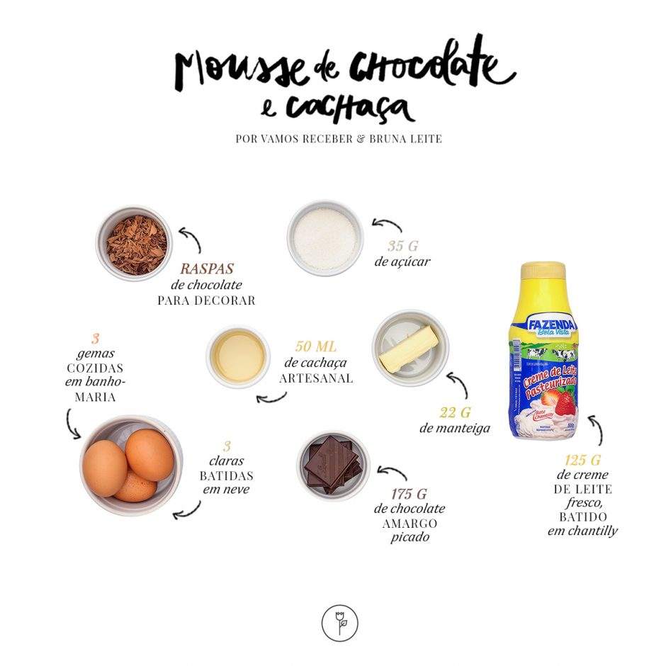 ingredientes de mousse de chocolate e cachaca por bruna leite