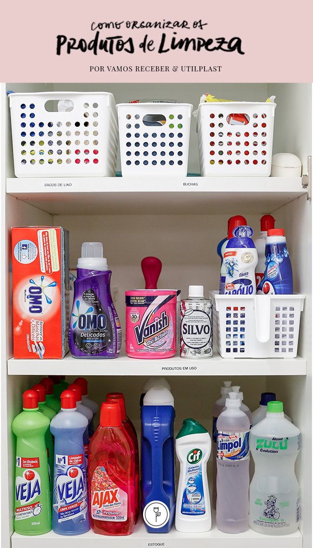como organizar os produtos de limpeza