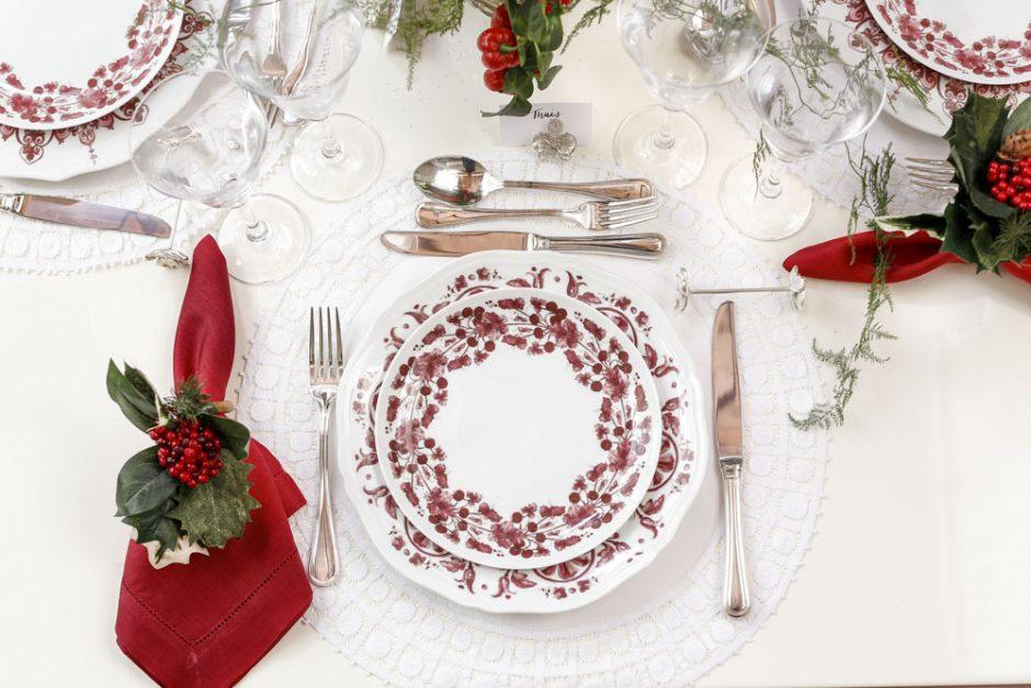mesa de natal com vinho