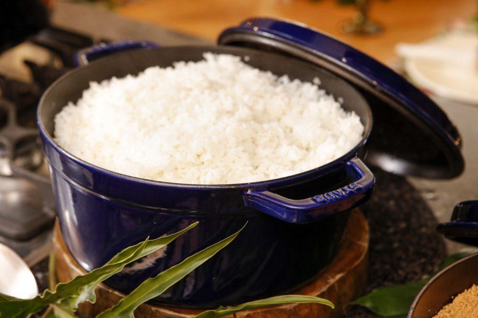 arroz em panela de ferro
