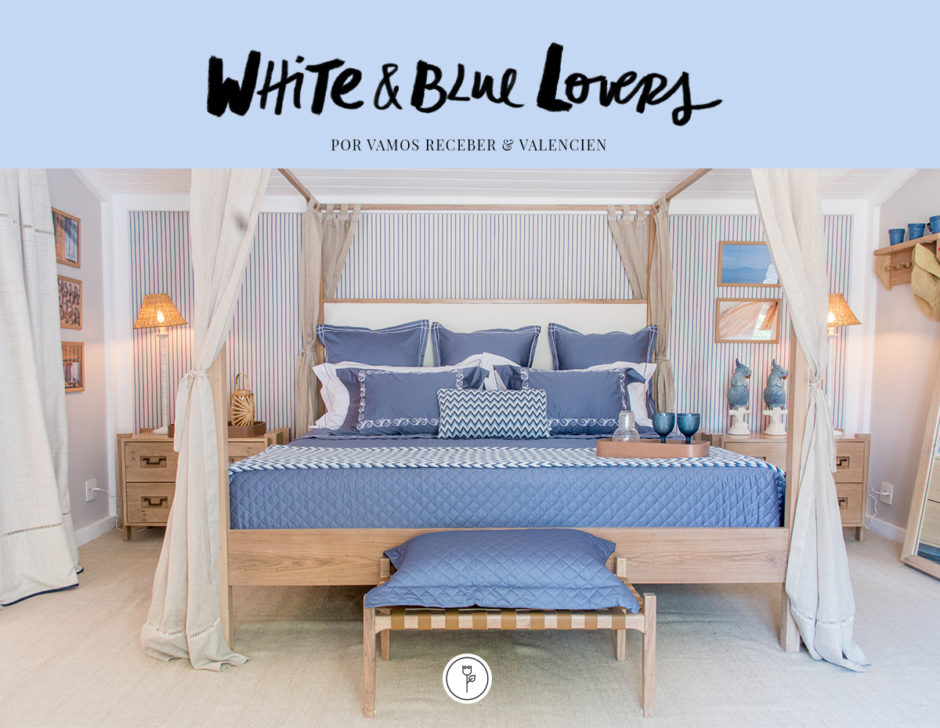 roupa de cama azul bordada