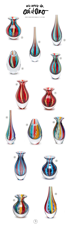 as cores dos vasos de cristal ca doro