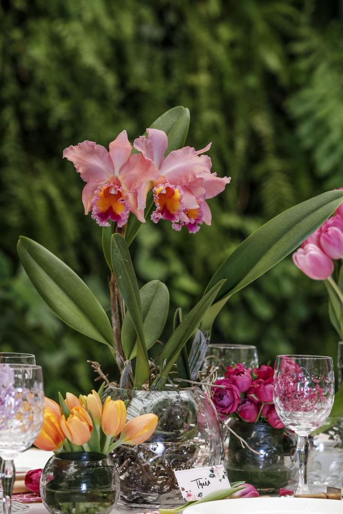 flores e orquídeas em tons de rosa e laranja