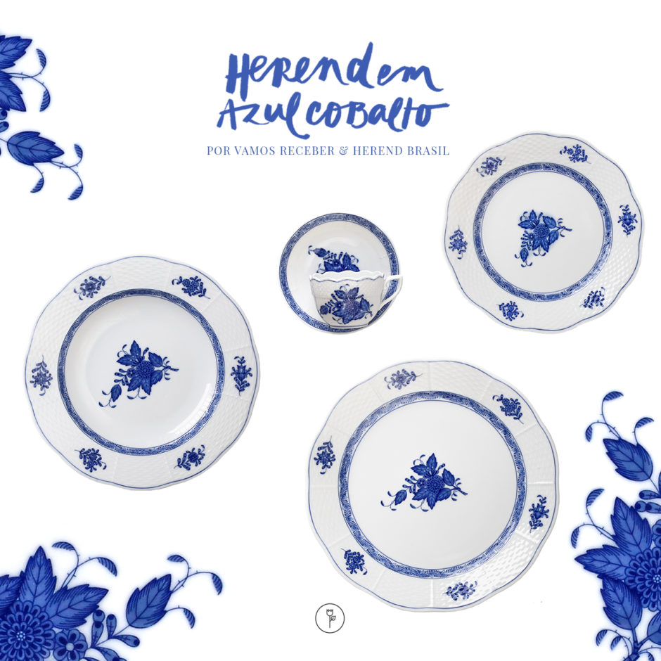herend louça azul cobalto porcelanas finas