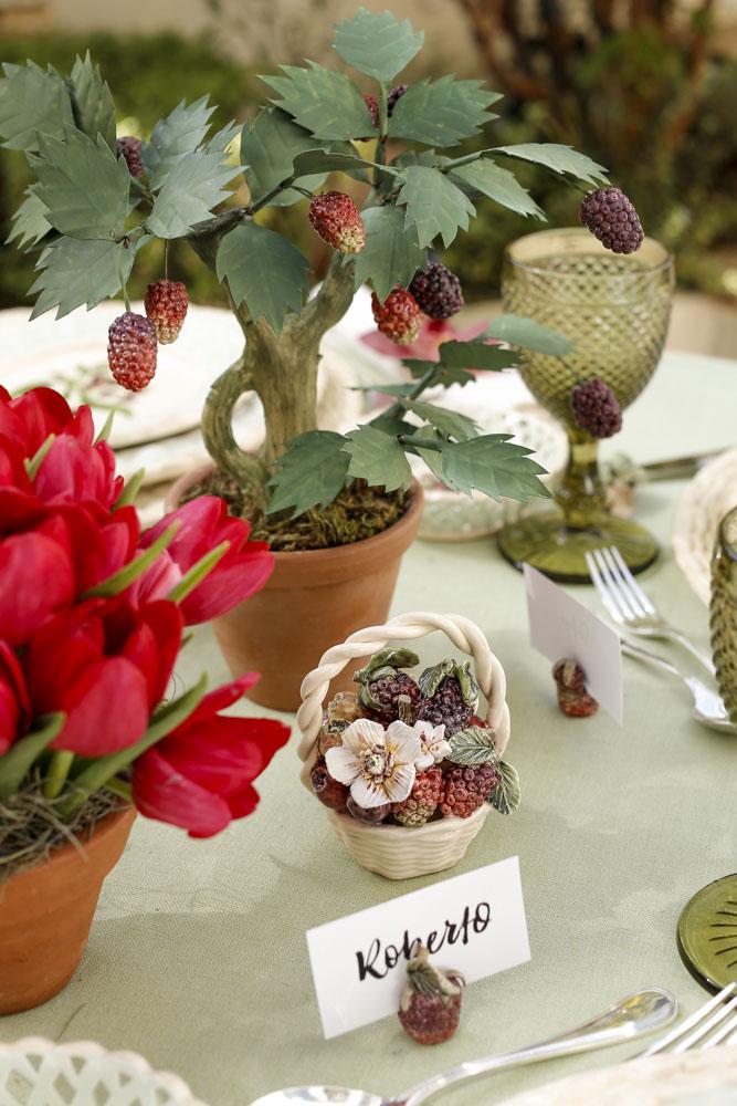 cestinha de frutas em cerâmica
