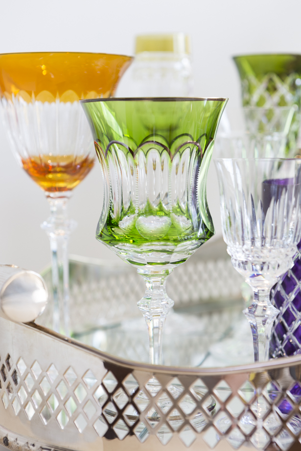 taça em cristal verde