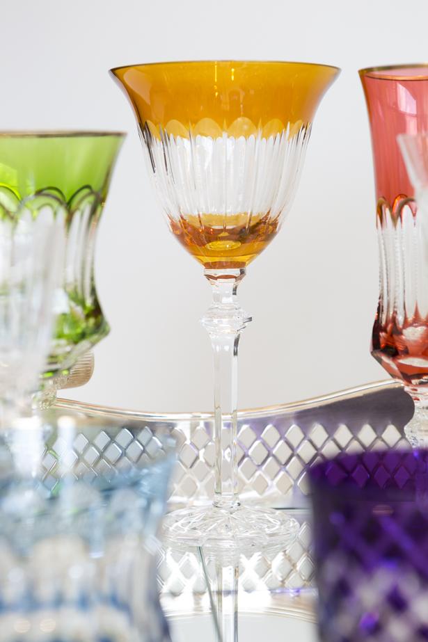 taça de cristal laranja