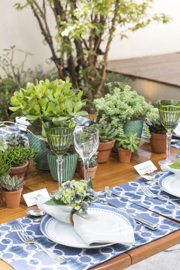 decoração verde e azul