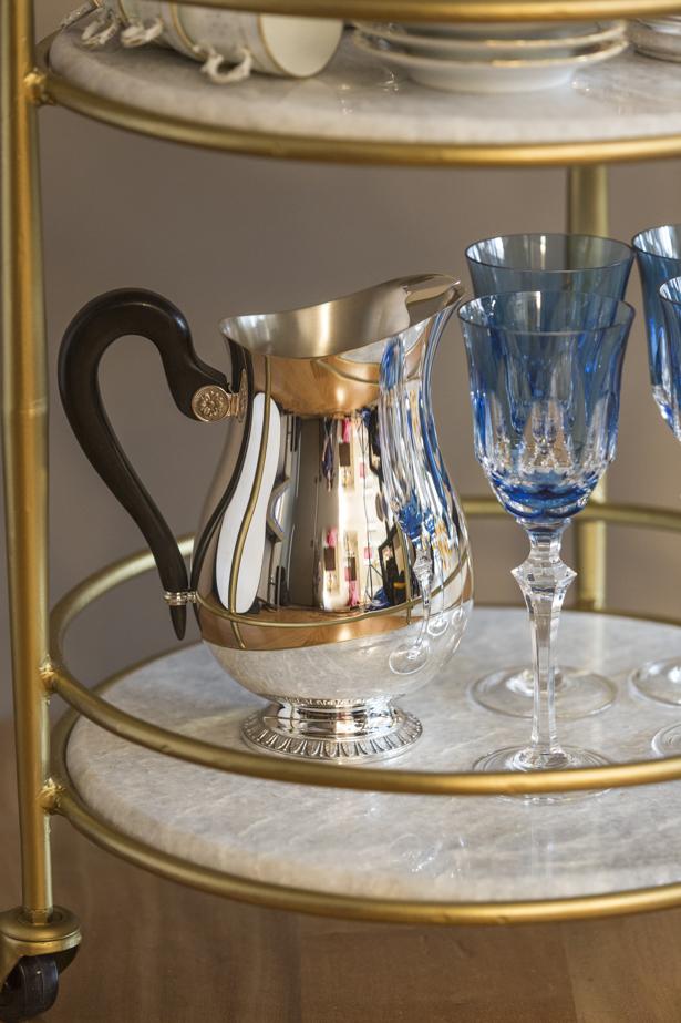 jarra e copos de cristal