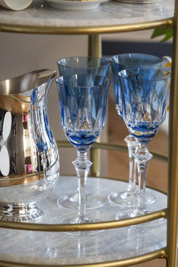 taça de cristal azul