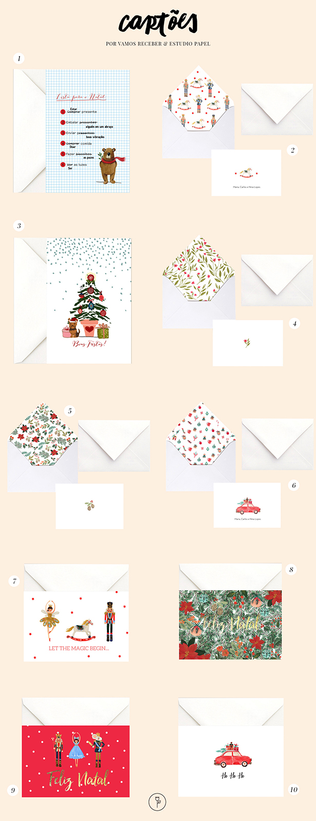 opções de cartão de natal