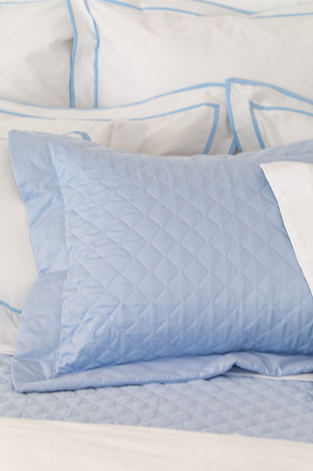 porta-travesseiro de matelassê azul Valencien
