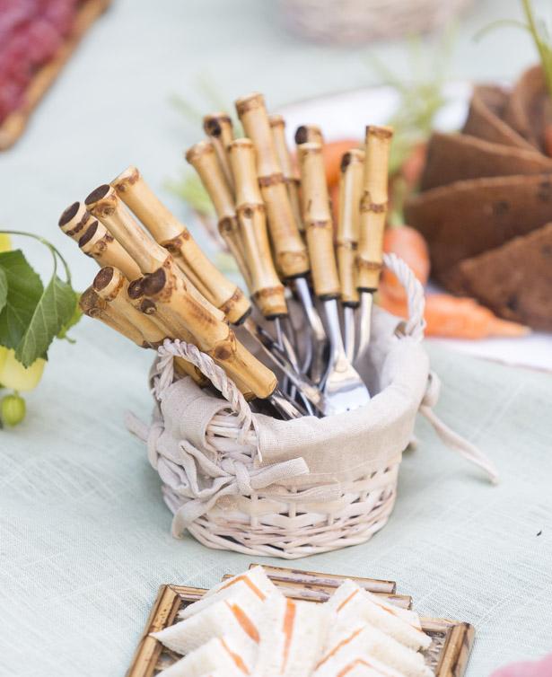 talheres de bambupara Páscoa