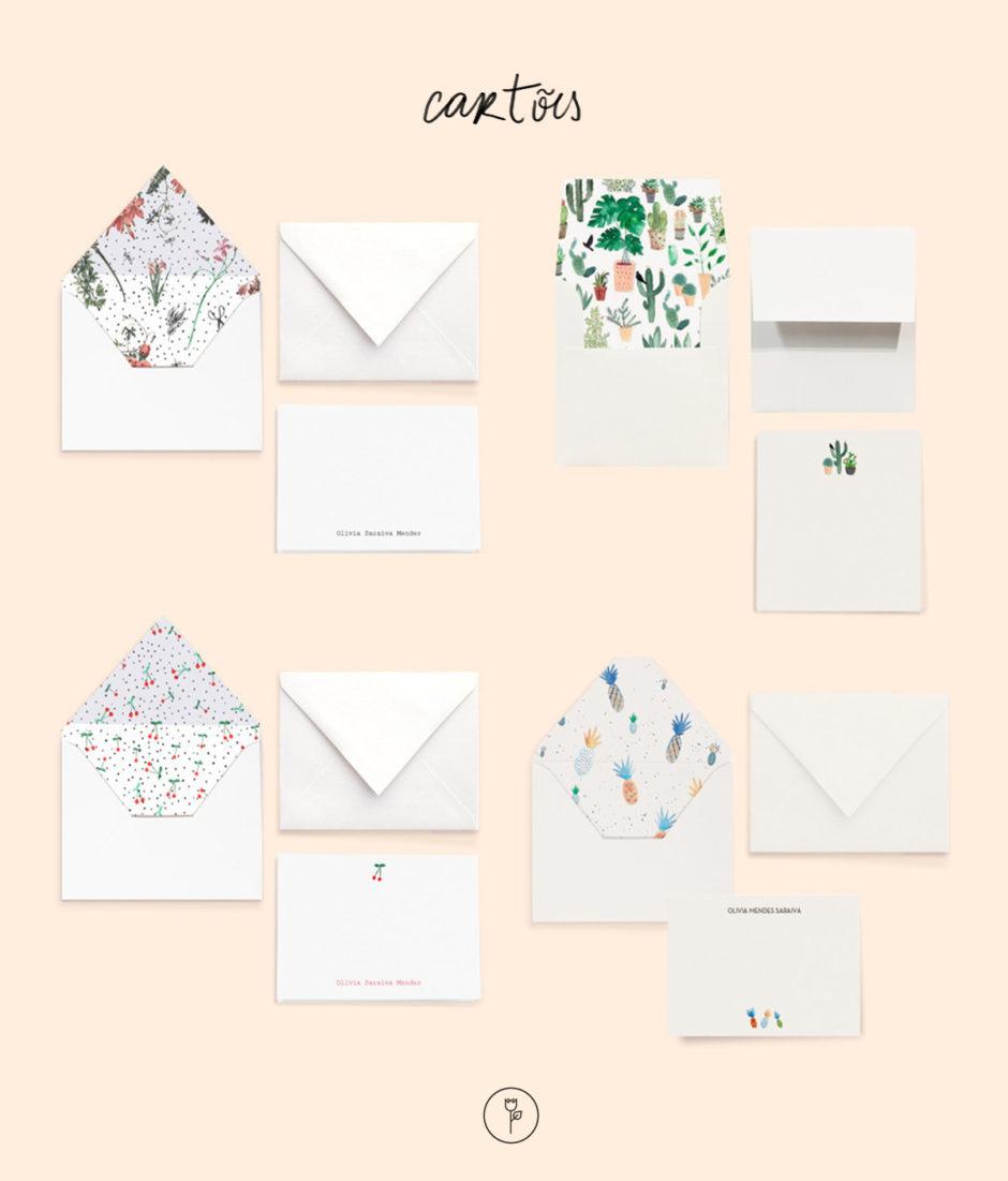cartões com ilustração estudio papel