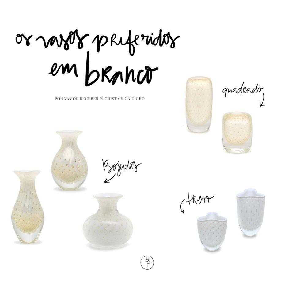vasos brancos de cristal cristais cá d'oro