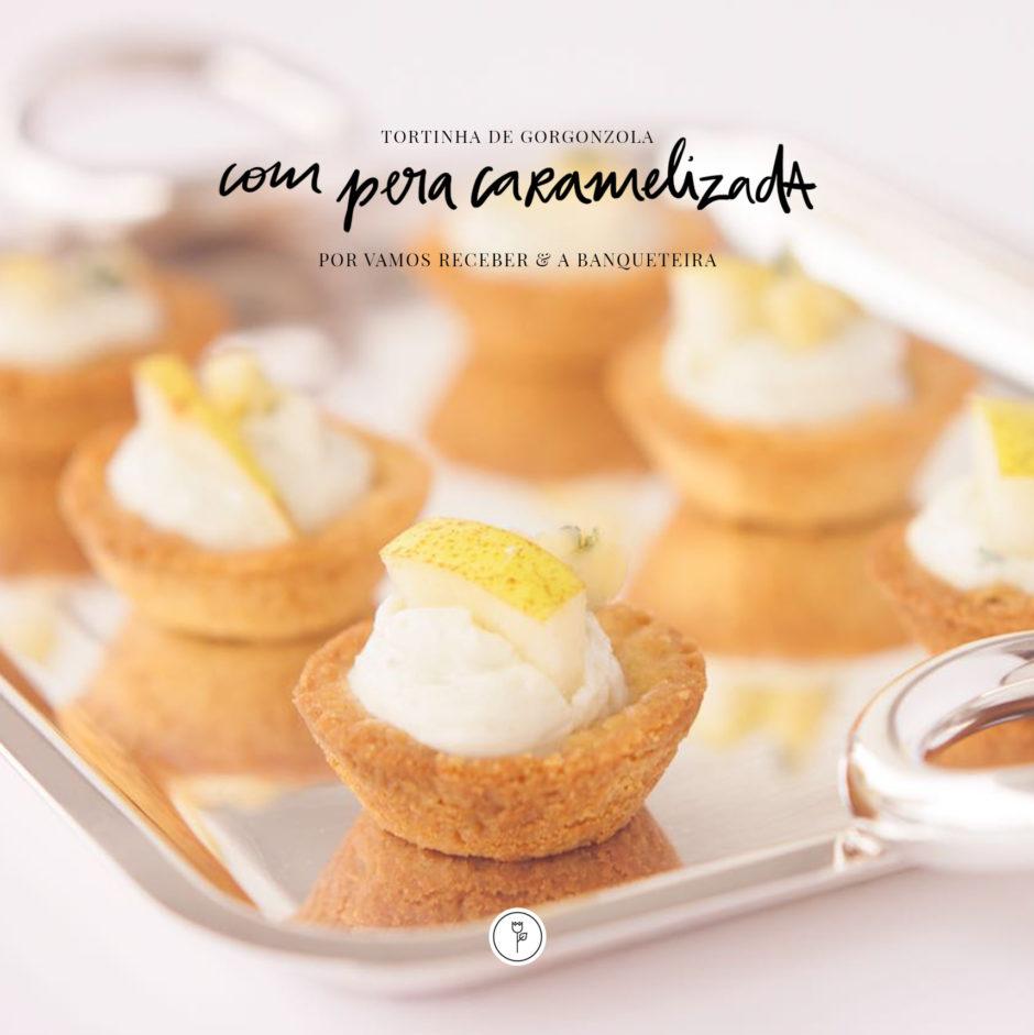 tortinha de gorgonzola com pera caramelizada