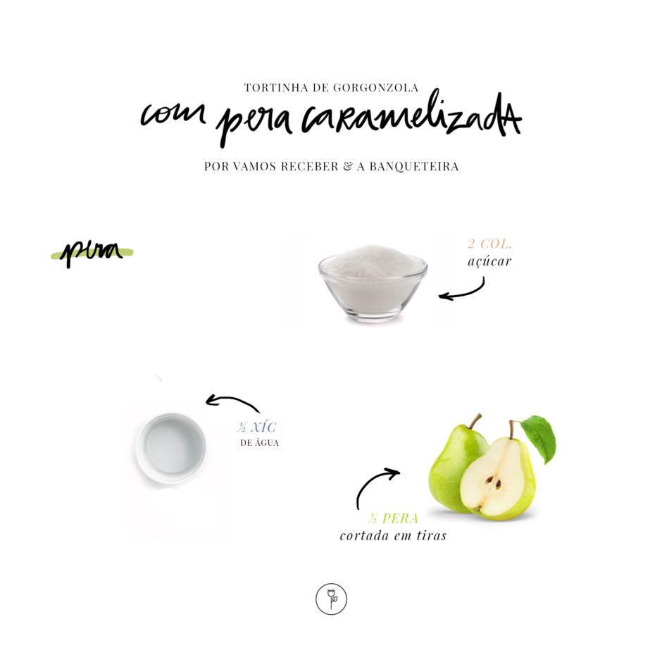 receita tortinha com creme de gorgonzola e pera