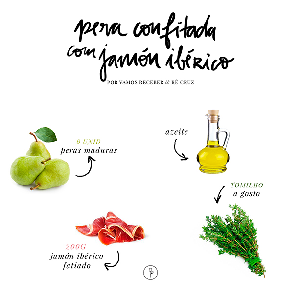 receita pera confitada com jamon