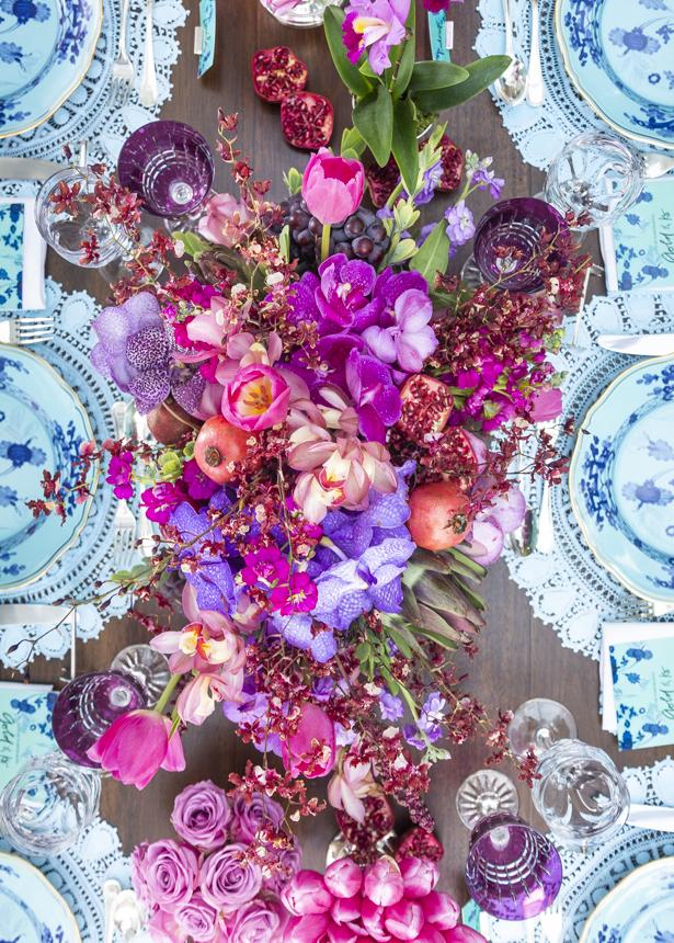 flores em rosa e lilás